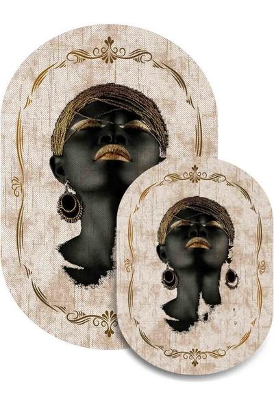 Soley Dod Süngerli Arap Kızı Figürlü Oval 2 'li Banyo Paspası 60x100-60x50 Ykbk
