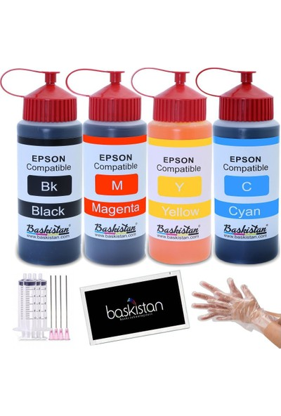 Baskistan Epson L100 İçin Mürekkep Seti 4 x 500 ml 15000 Sayfa
