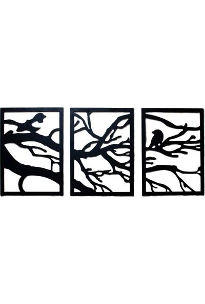 Cc Dizayn 3'lü Ahşap Tablo Kuş ve Ağaç Dalı