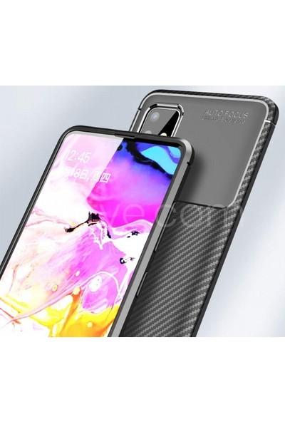 Kilifve Samsung Galaxy A51 Kılıf Silikon Esnek Karbon Görünümlü Negro Kapak - Siyah