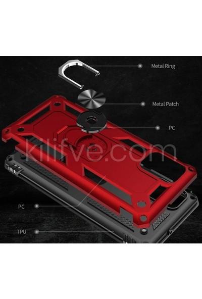 Kilifve Samsung Galaxy A51 Kılıf Zırhlı Standlı Mıknatıslı Silikon Vega Kapak - Kırmızı