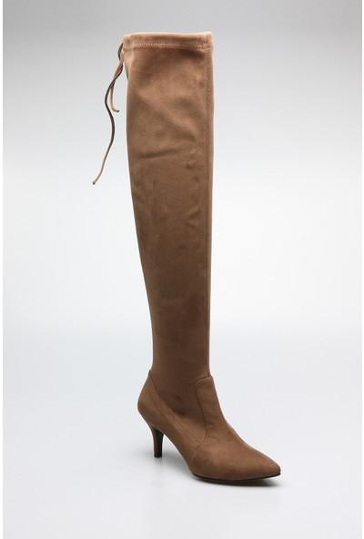Rovigo Plus Vizon Suet Streç Kadın Çizme