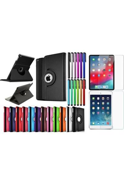 """ElitX Apple iPad 7.Nesil (2019) 10.2"""" 360 Derece Dönerli Kılıf + Kalem + 9H Cam (A2197/A2200/A2198) - Siyah"""