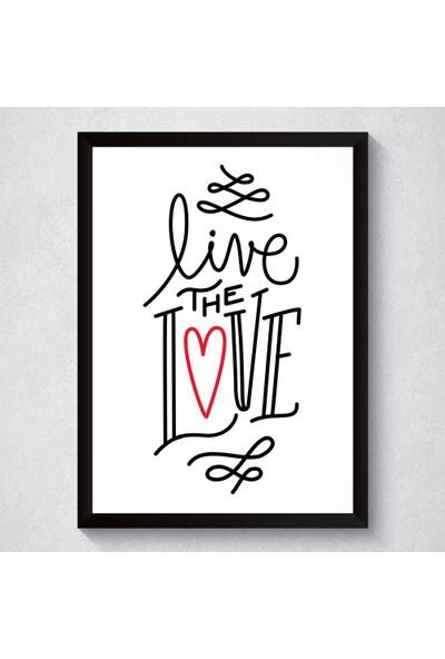 Dez Aşk Temalı Dekoratif Tablo Ahşap Siyah Çerçeveli 35 x 50 cm