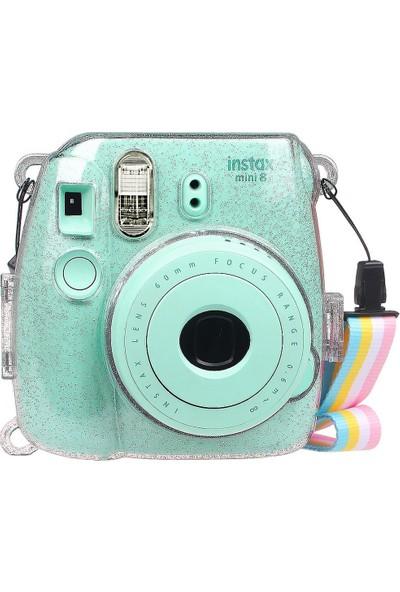 Trendfone Fujifilm Instax Mini 8-9 Fotoğraf Makinesi Simli Şeffaf Koruyucu