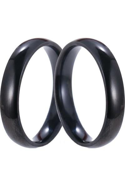 Takı Dükkanı Siyah 4mm Ince Bombeli Çelik Alyans Çifti Söz Yüzük leri CL16