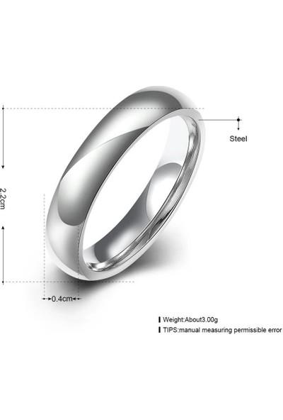 Takı Dükkanı 6 mm Bombeli Beyaz Çelik Alyans Çifti Söz Nişan Yüzüğü CL08