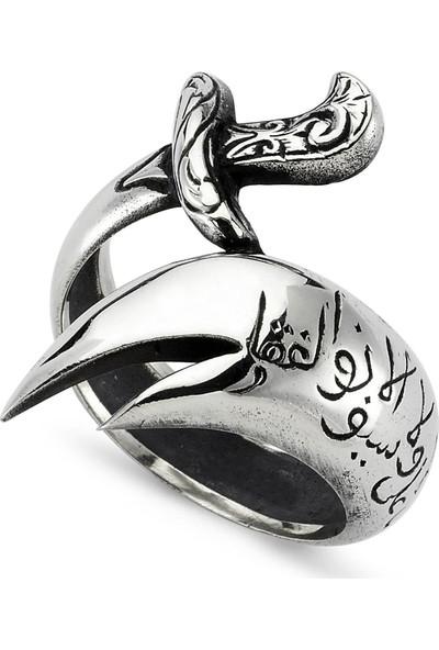 Takı Dükkanı Hz. Ali Kılıcı Zülfikar Yüzüğü Gümüş Erkek Yüzük MSR325