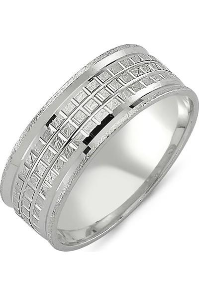 Takı Dükkanı Modern Taşsız Gümüş Alyans Söz Nişan Yüzüğü WR70-1