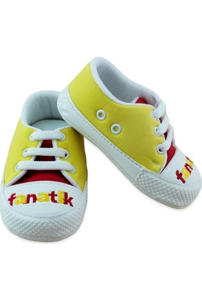 Pamily Sarı Kırmızı Convers Tarz Bebek Ayakkabı K856