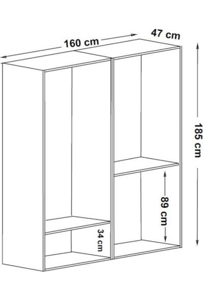 Dekorex MNT-415-BEYAZ -Dört Kapaklı Gardırop