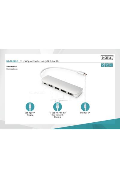 Digitus 4 Port USB 3.0 Hub 4 x USB 3.0 USB-A Dişi Konnektör (USB Çevre Ürünü) 1 x USB Tip C Pd (Power Delivery) Port 1 x USB Tip C Erkek Port