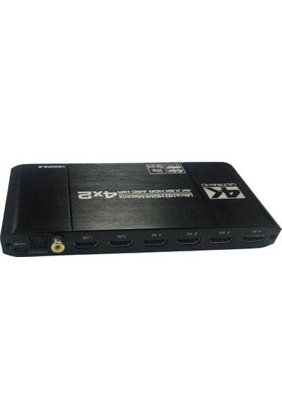 Gplus 4KMX442A 18 Gbps 4x2 Matrix HDMI 2.0 Switch 4K Ultra Hd 2160P Hdr Hdcp 2.2 Arc Extractor Ses Ayrıştırıcılı 4 Giriş 2 Çıkış Profesyonel Switch