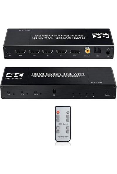 Gplus 4K421A 4x1 HDMI 2.0 4K Ultra Hd 2160P Hdr Hdcp Arc Audio Extractor Ses Ayrıştırıcılı 4 Giriş 1 Çıkış Switch