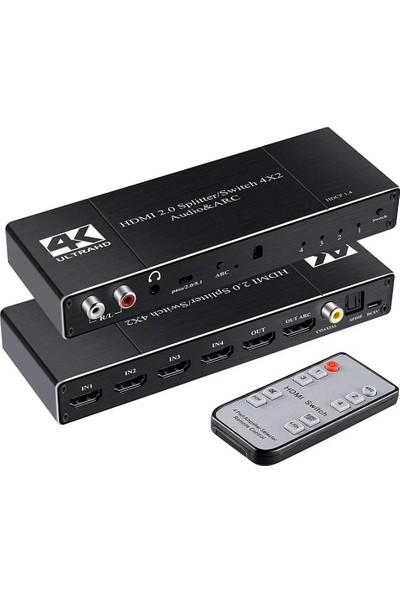 Gplus 4K422A HDMI 2.0 4K Ultra Hd Hdr Hdcp Arc Extractor Ses Ayrıştırıcılı Combo Switch Splitter