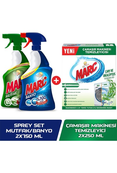 Marc Banyo&Mutfak Sprey Set + Marc Çamaşır Makinesi Temizleyici Çam&Okaliptus