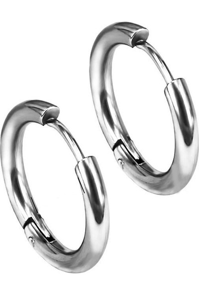 Takı Dükkanı Ince Halka Unisex Erkek Çelik Küpe Çifti Yeni Model 3 Renk Mse5