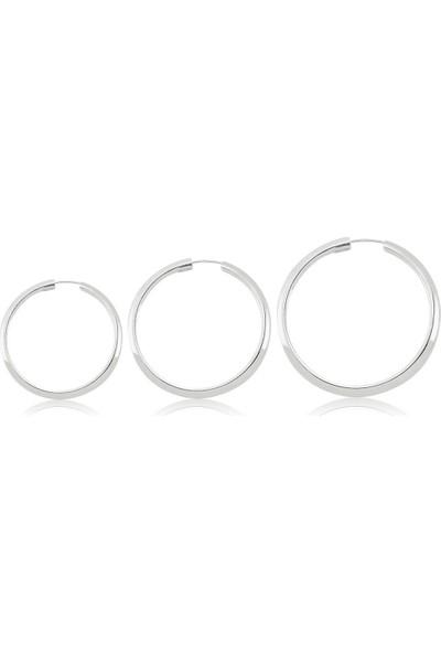 Takı Dükkanı Gümüş Halka Küpe Üçlü Kombin 12 mm + 14 mm + 16 mm WSK02