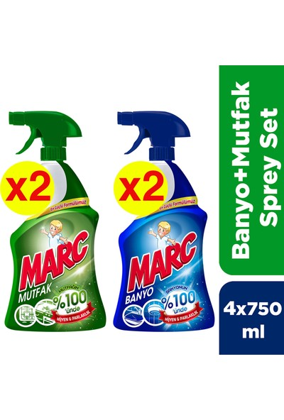 Marc Banyo ve Mutfak Temizleyici Yağ Çözücü ve Kireç Sökücü 2'li Sprey Set x 2 Adet