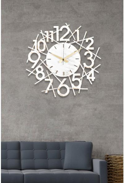 Muyika Karde Metal Beyaz Eskitme Duvar Saati