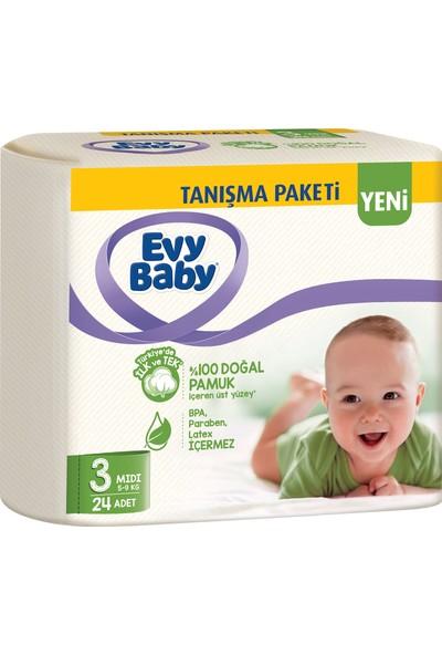 Evy Baby Bebek Bezi 3 Beden Midi Tanışma Paketi 24'lü