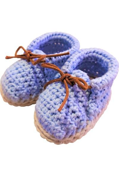 Pacco Baby El Örgüsü Organik Pamuk Mavi Bağcıklı Bootie