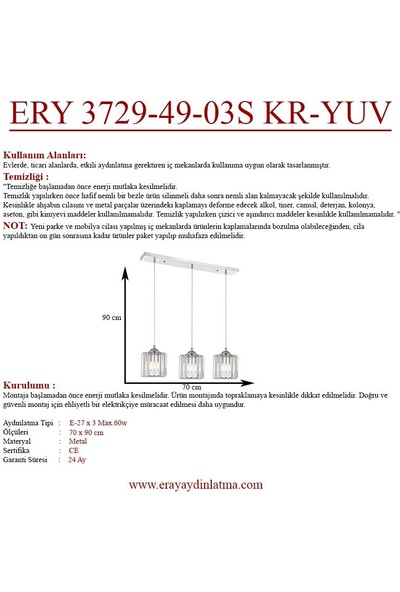 Eray Aydınlatma Ery 3729-49-03S Krom Yuvarlak 3 Lü Sıralı Avize