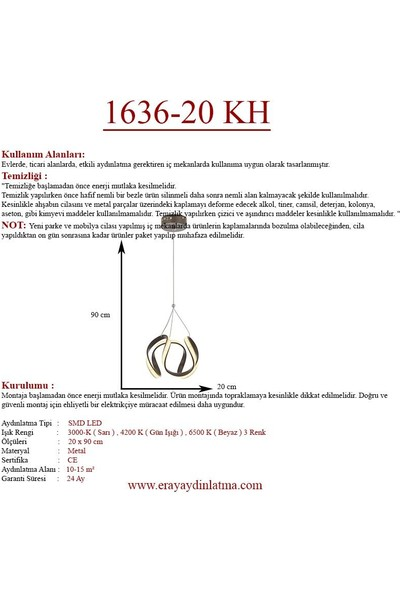 Eray Aydınlatma 1636-20 Kahve Led Avize