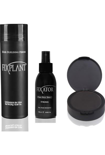 Fixplant Siyah 1 Şişe 28 Gr. Saç Tozu + Fixator Sabitleyici Sprey + Fixdeep Suda Çıkmayan Saç Gürleştirici Pudra