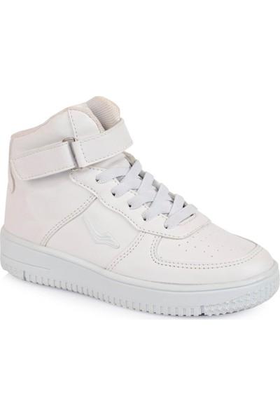 Cool Uzun Boğazlı Çocuk Beyaz Spor Ayakkabı 19-K30Flt-02