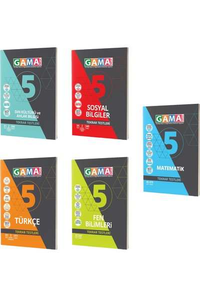 Gama Yayınları 5. Sınıf Matematik Fen Türkçe Sosyal Din Tekrar Testleri Seti 5 Kitap