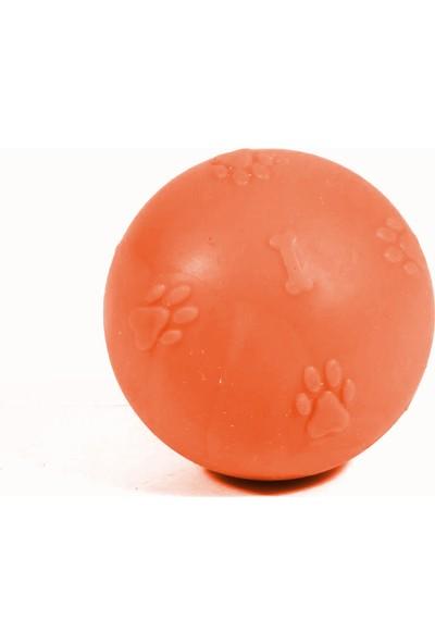 CCA Termoplastik Pati Desenli Sert Köpek Oyun Topu 7 cm Turuncu