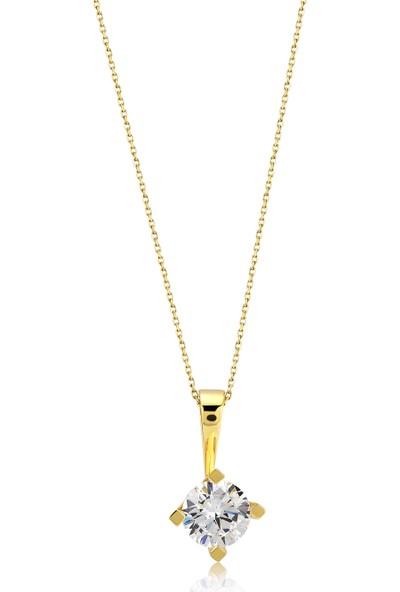Fashion Jewelry Altın Kaplama Tek Taş Kolye