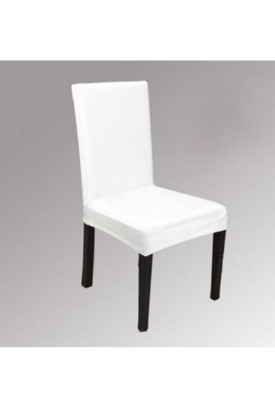 Bella Home Sandalye Kılıfı Kadife Beyaz