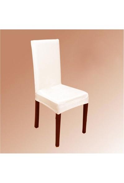 Bella Home Sandalye Kılıfı Kadife Fildişi