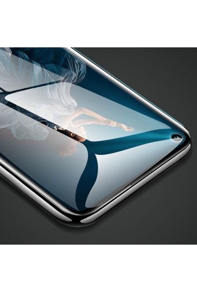 Microsonic Huawei Nova 5T Tam Kaplayan Temperli Cam Ekran Koruyucu Siyah