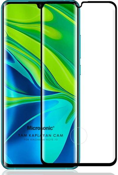 Microsonic Xiaomi Mi Note 10 Tam Kaplayan Temperli Cam Ekran Koruyucu Siyah