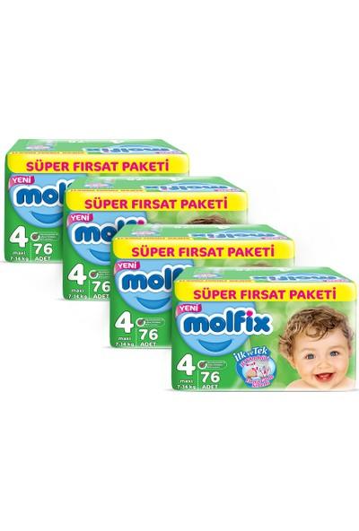 Molfix Bebek Bezi 4 Beden Maxi 2 Aylık Fırsat Paketi 304 adet