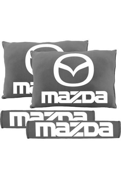 BT Mazda Logolu Boyun Yastığı Ve Kemer Pedi Gri