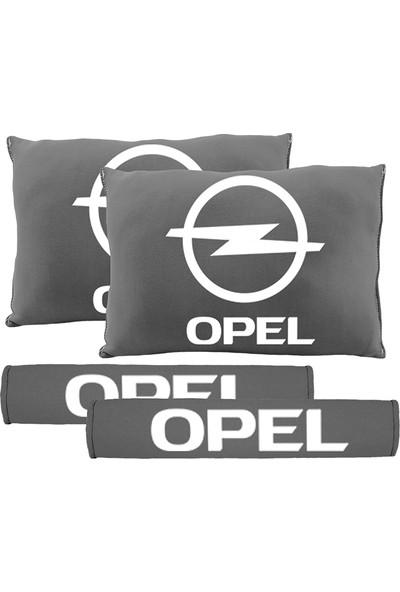 BT Opel Logolu Boyun Yastığı Ve Kemer Pedi Gri