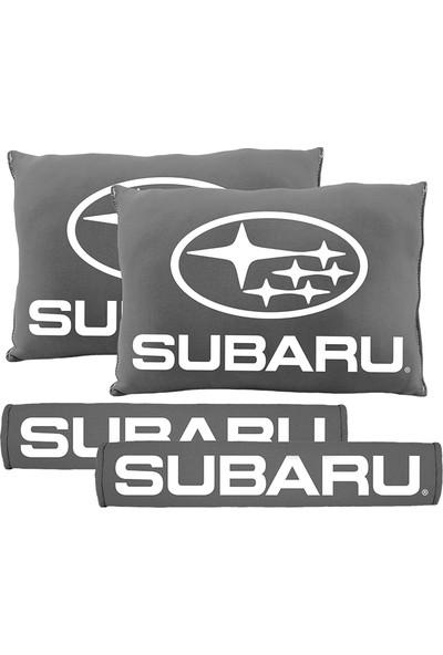 BT Subaru Logolu Boyun Yastığı Ve Kemer Pedi Gri