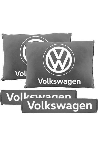 BT Volkswagen Logolu Boyun Yastığı Ve Kemer Pedi Gri