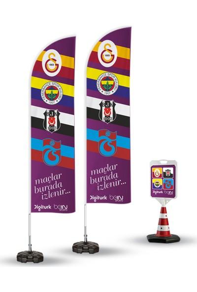 ReklamEdiyoruz 4 Büyük Club Logolu Mac Paketi Temalı 2 Adet Yelken Bayrak - 1 Adet Reklam Duba Paketi