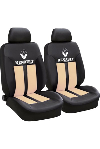 BT Renault Logolu Ön-Arka Derili Oto Koltuk Kılıfı Krem