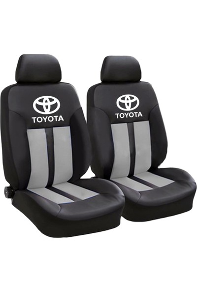 BT Toyota Logolu Ön-Arka Derili Oto Koltuk Kılıfı Gri