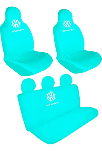 BT Volkswagen Logolu Ön-Arka Penye Oto Servis Kılıfı Turkuaz