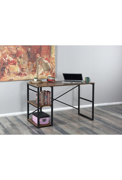 Esmahome Çalışma Masası 4 Raflı Ev-Ofis Masası Laptop Masası Ceviz 60 x 120 cm