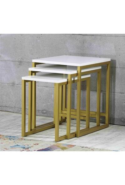 Esmahome Zigon Sehpa 3'Lü Gold-BeyazTasarım Zigon - Metal Zigon