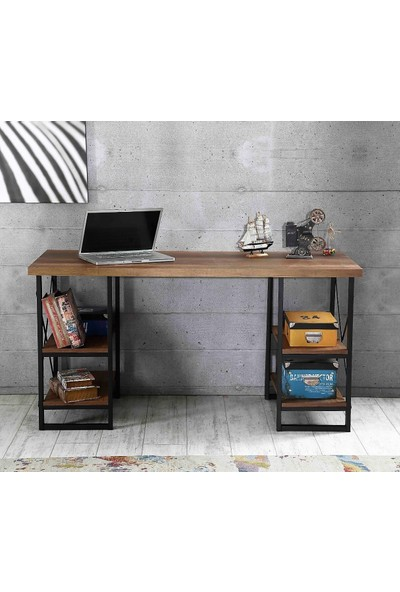 Esmahome Çalışma Masası 4 Raflı Ev-Ofis Masası 60 x 150 cm Ceviz