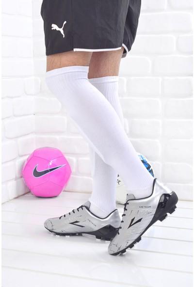 Lig Meteor Erkek Krampon Çim Saha Futbol Ayakkabısı Gümüş